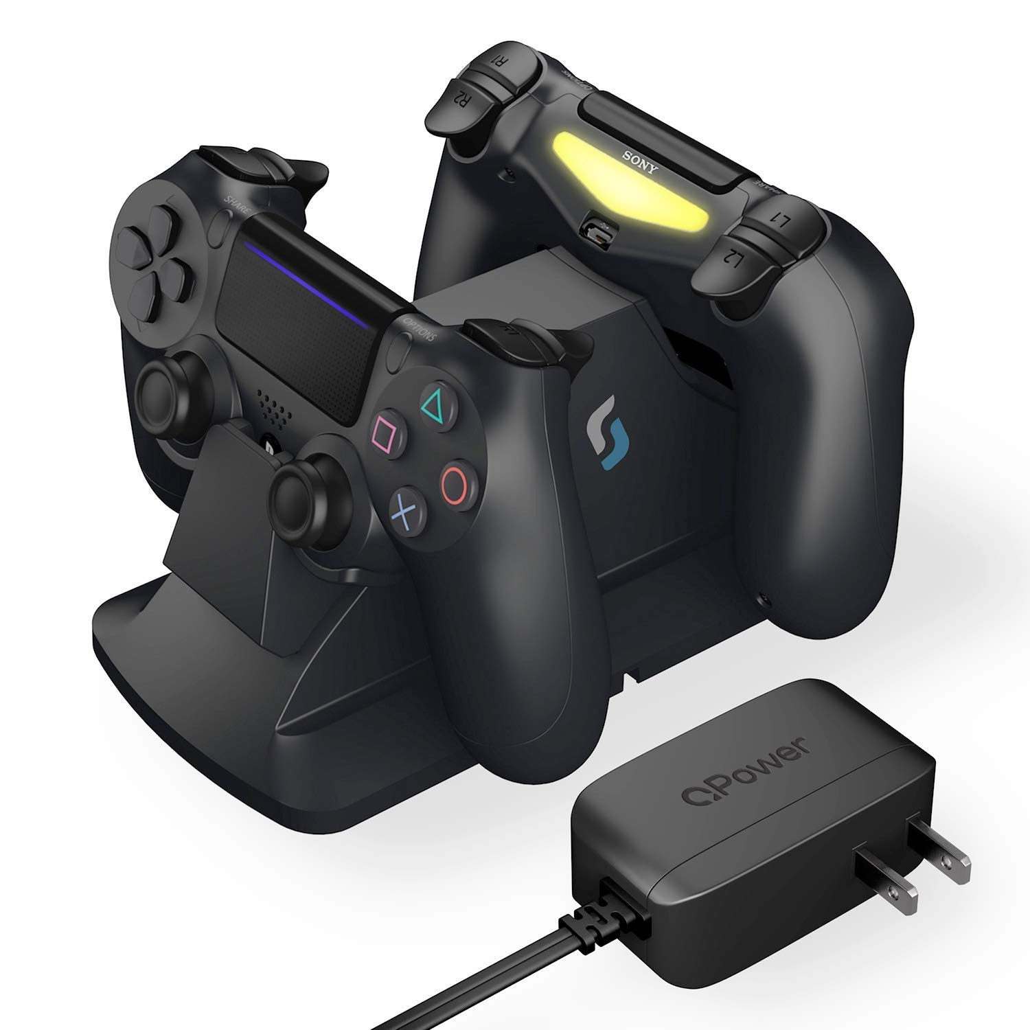 Sliq Gaming PlayStation 4 Controller Charger Station with QPower AC Adapter