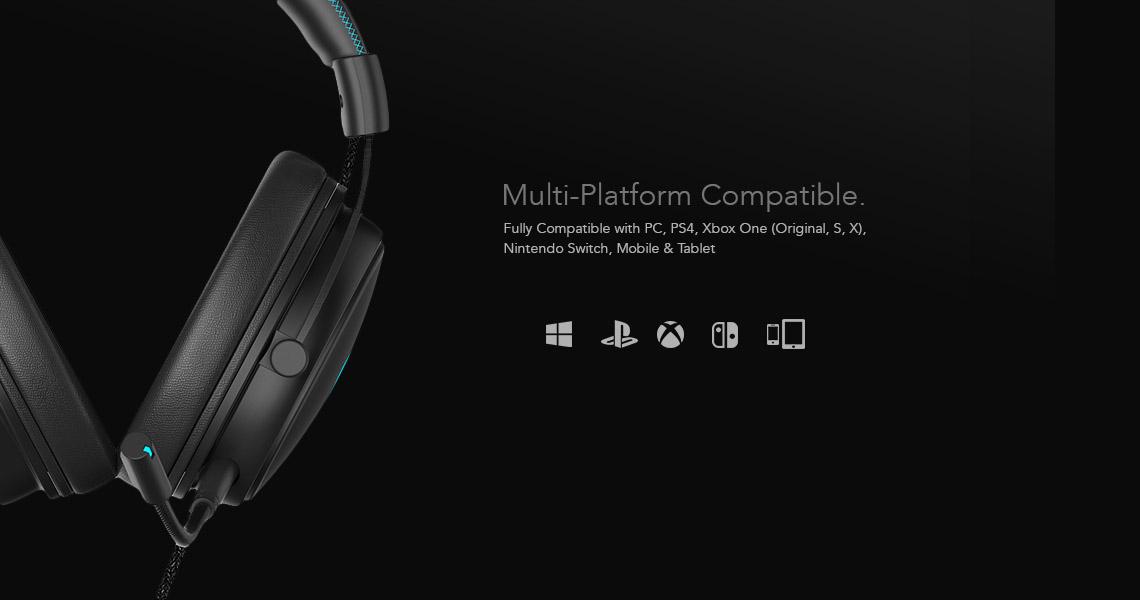 Sliq Gaming Element Elite Headset Multiple Platform Compatibility
