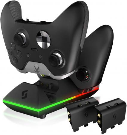 Sliq Gaming Xbox One Controller Charger Station and Battery Pack - Black